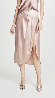 Sablyn Атласная юбка в складку Ariel с разрезом