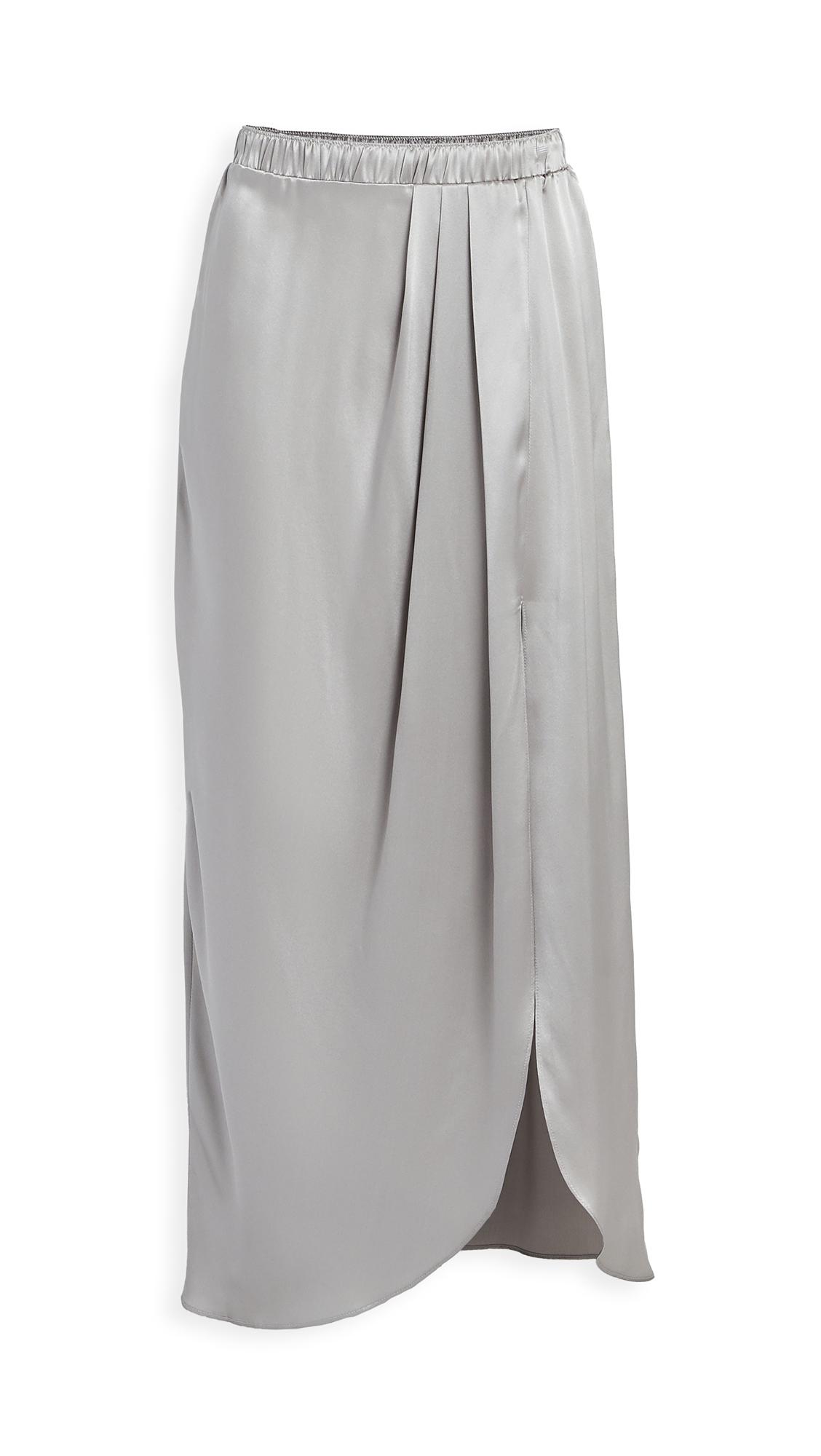 Sablyn Ariel Satin Pleated Slit Skirt