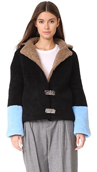 Saks Potts Heidi Black Jacket In Black/Brown/Blue
