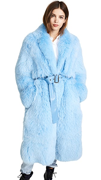 Saks Potts Lake Fur Coat In Blue