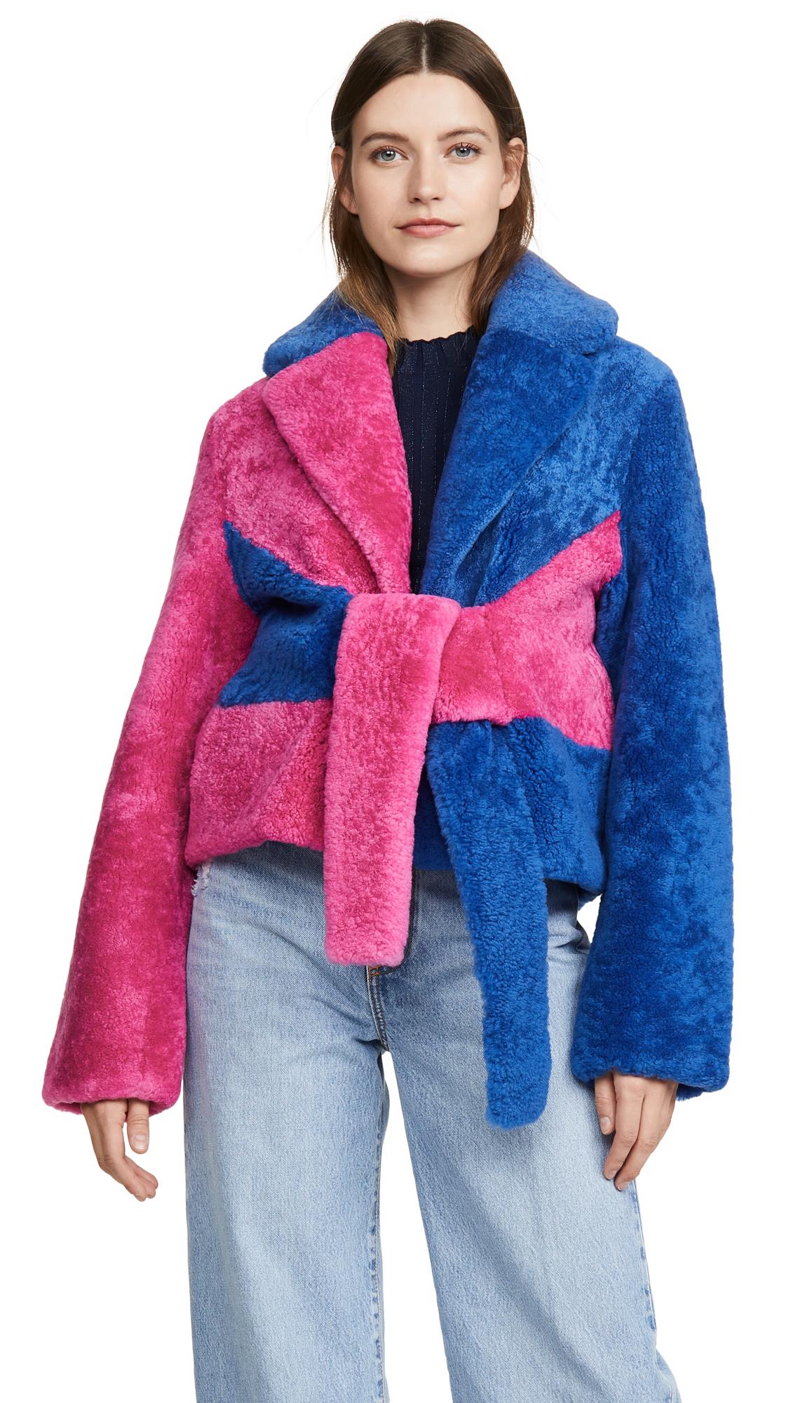 Buy Saks Potts online - photo of Saks Potts Colorblock Shearling Jacket