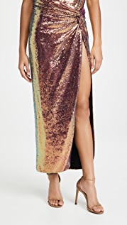LAPOINTE Iridescent Sequins Long Twist Sarong Wit