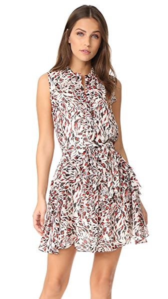 Saloni Tilly Ruffle Dress In Red Leopard
