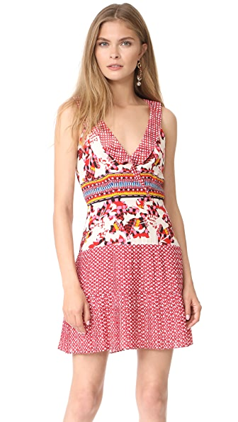 Saloni Amy Short Dress - Gingham Mural Placement