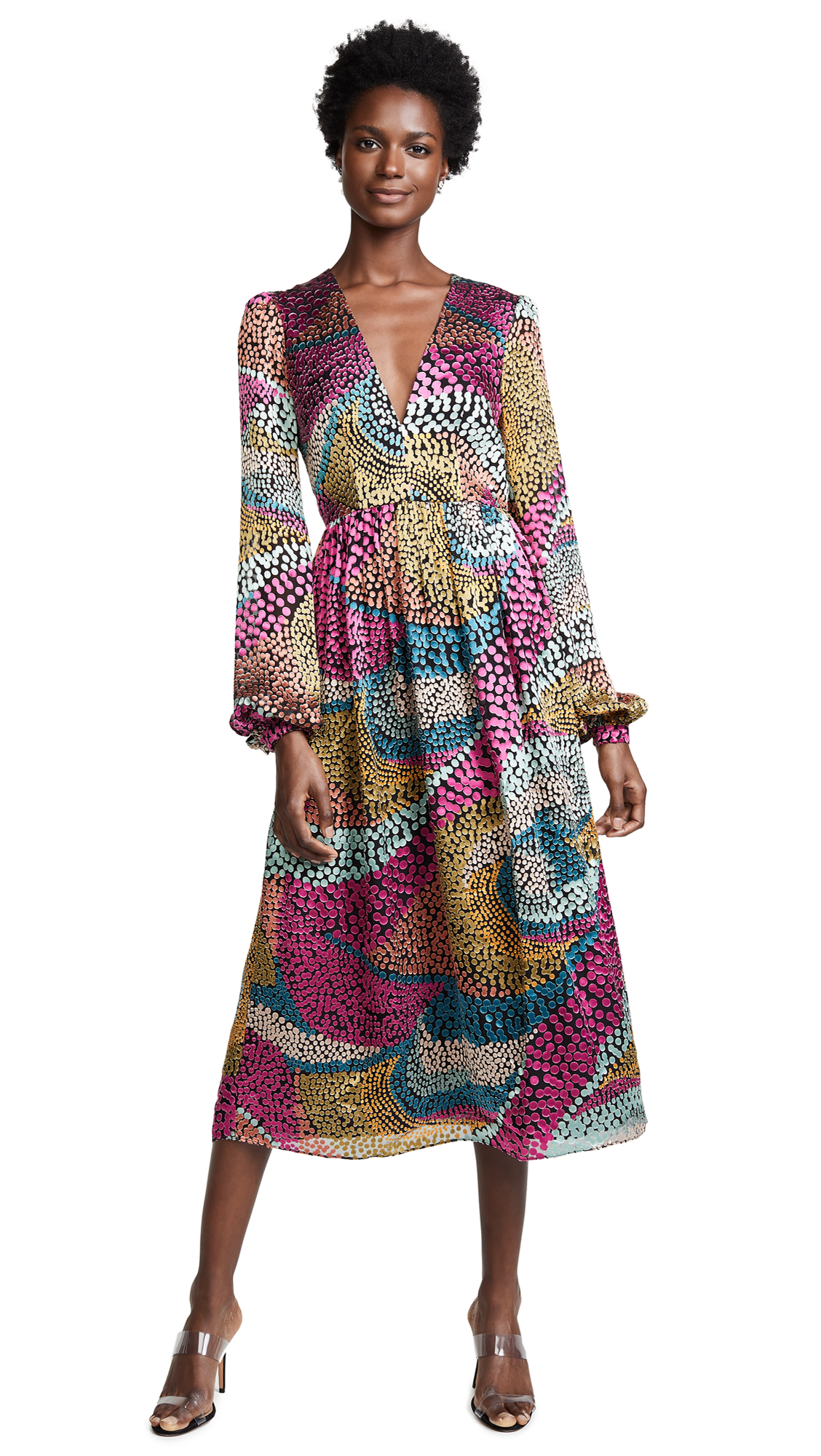 Saloni Camille Midi Dress In Multi Wavy Dotty