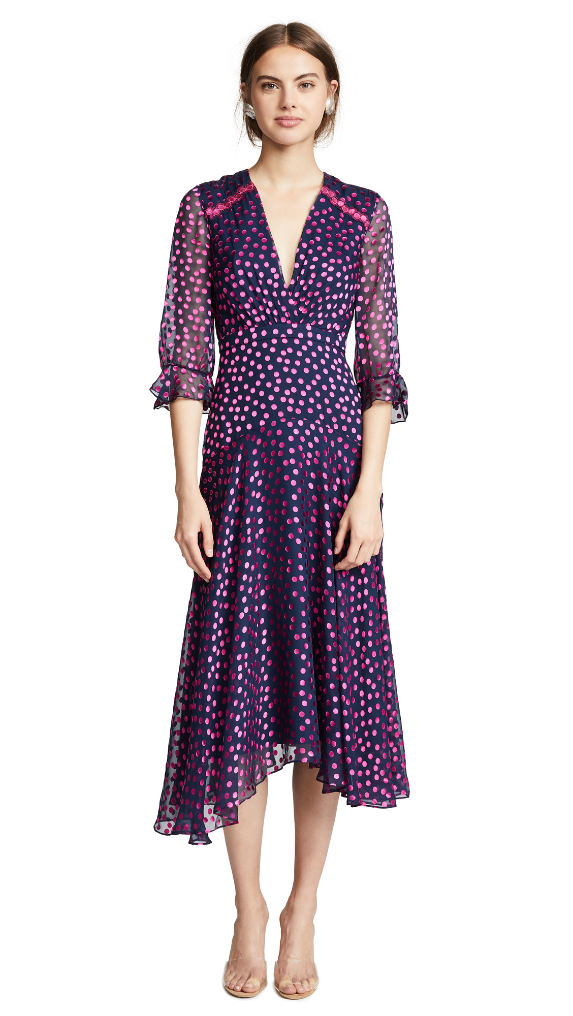 Edith Polka-Dot Flocked Silk-Blend Chiffon Midi Dress, Navy/ Magenta