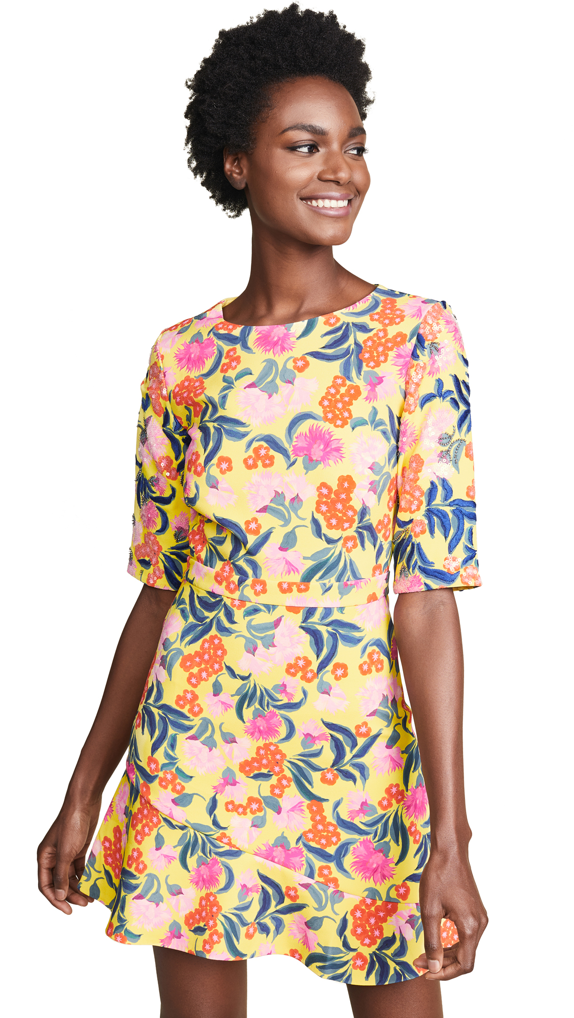 Saloni Celia C Dress In Yellow Azalea/Azalea
