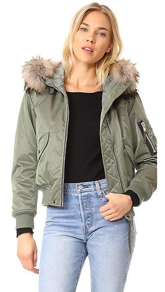 SAM. Jenny Bomber Jacket In Green/Natural