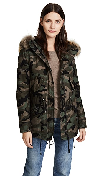 SAM. Camo Mini Hudson Parka In Camo/Natural