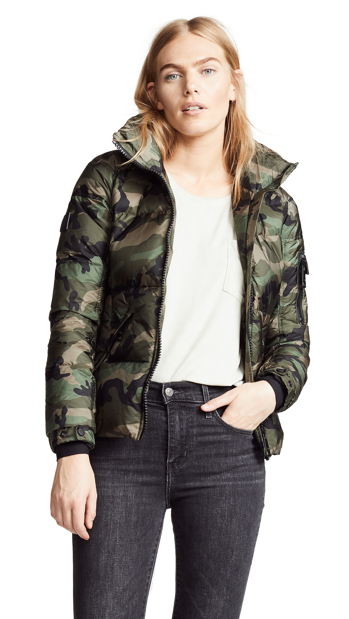 SAM. Camo Freestyle Down Bomber Jacket in Olive Camo