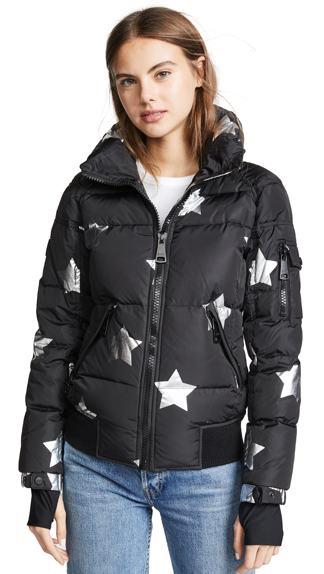 SAM Stars Freestyle Bomber Jacket in Black/Silver Stars