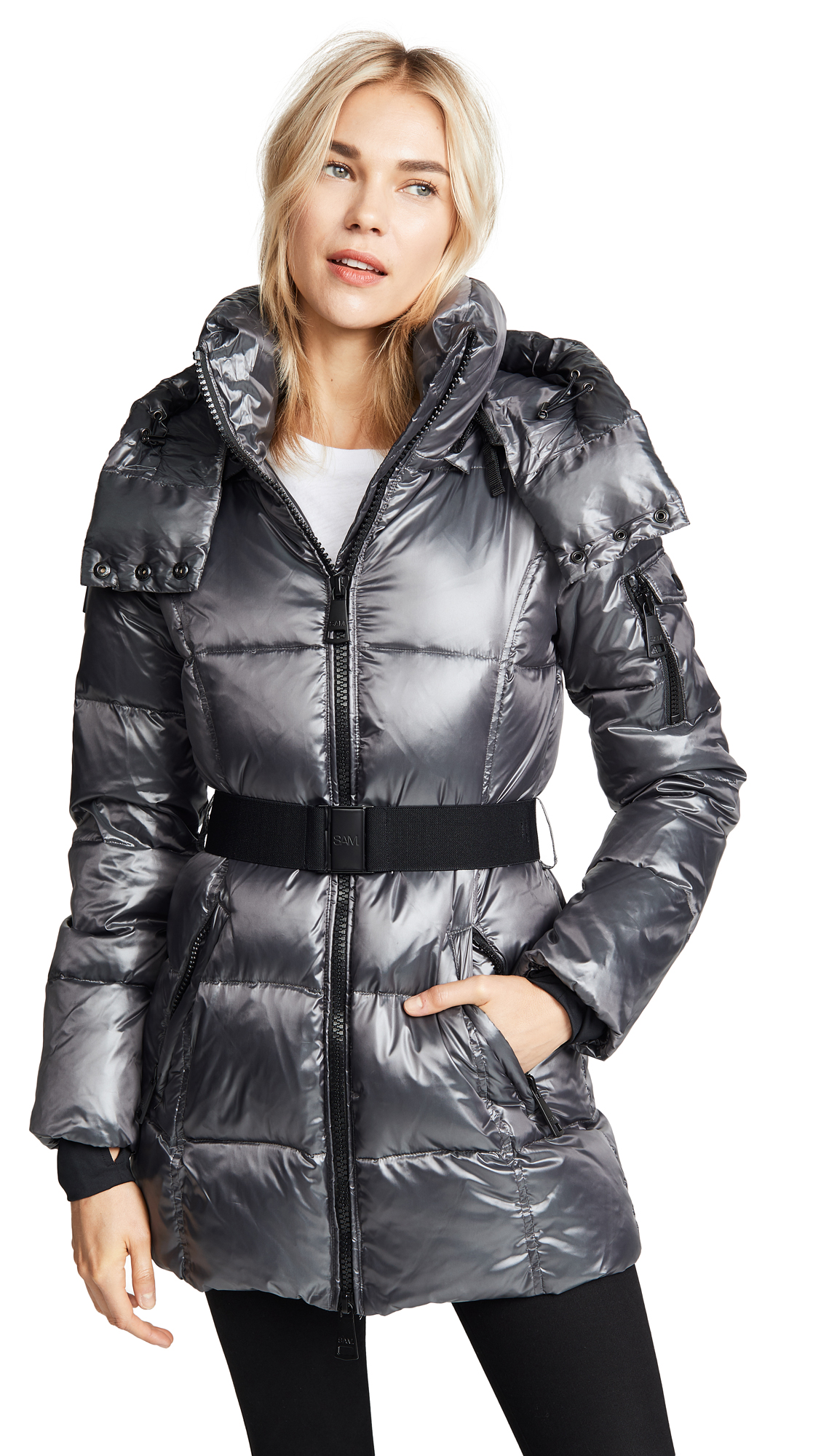 SAM Soho Long Down Jacket in Anthracite