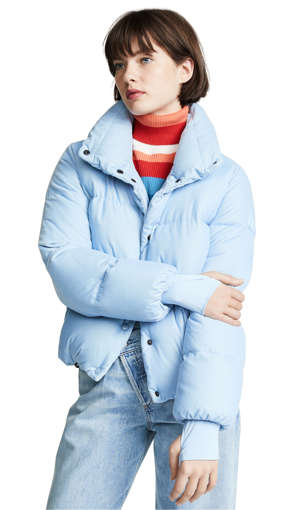 SAM Sophia Velvet Puffer Coat in Blue