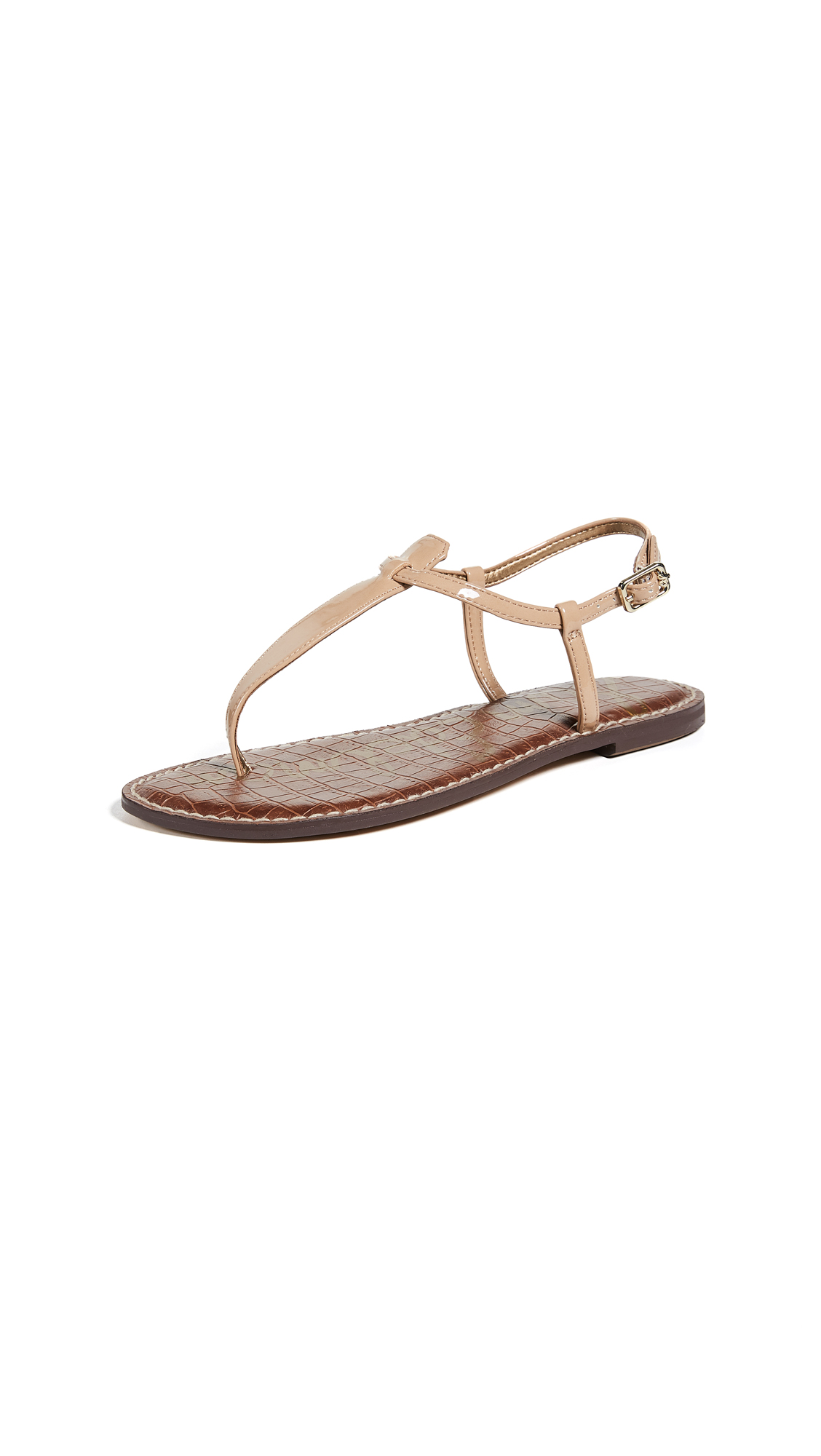 Sam Edelman Gigi Patent T Strap Sandals - Almond