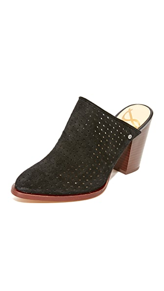 Sam Edelman Bates Perforated Suede Mules - Black