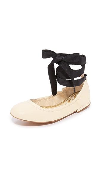 Sam Edelman Fallon Lace Up Ballet Flats - Modern Ivory
