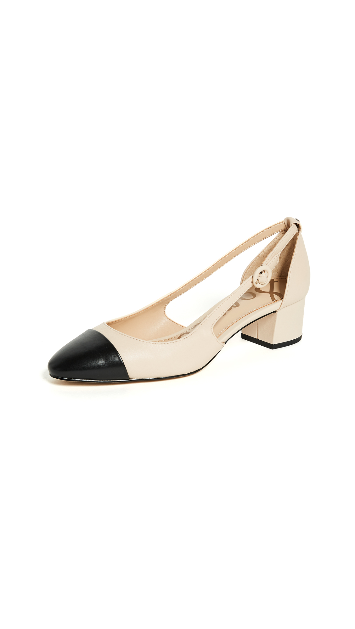 Sam Edelman Leah Cap Toe Pumps - Summer Sand/Black