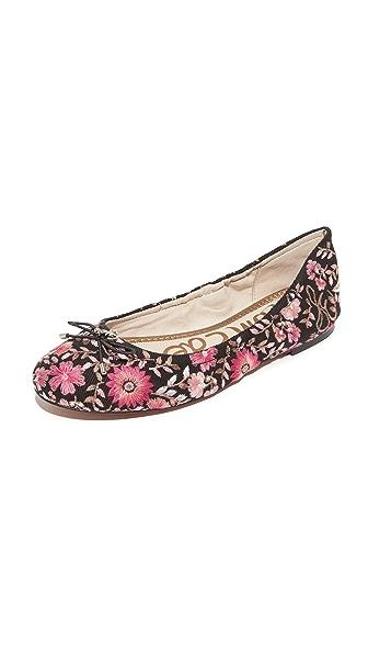 Sam Edelman Felicia Embroidered Flats - Black/Pink Multi
