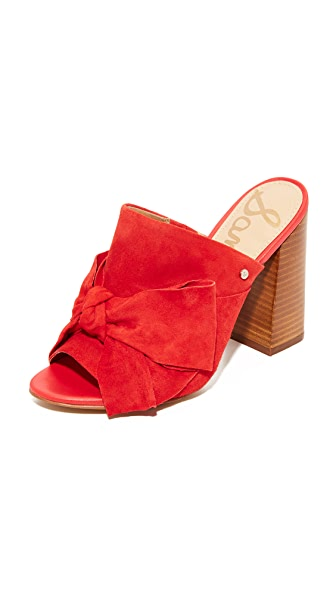 Sam Edelman Yumi Bow Mules - Blood Orange