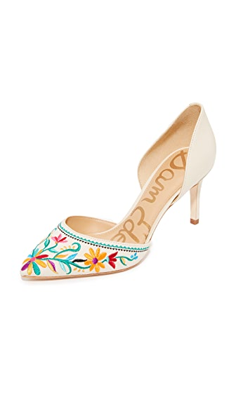 Sam Edelman Telsa II Embroidered Pumps - Modern Ivory