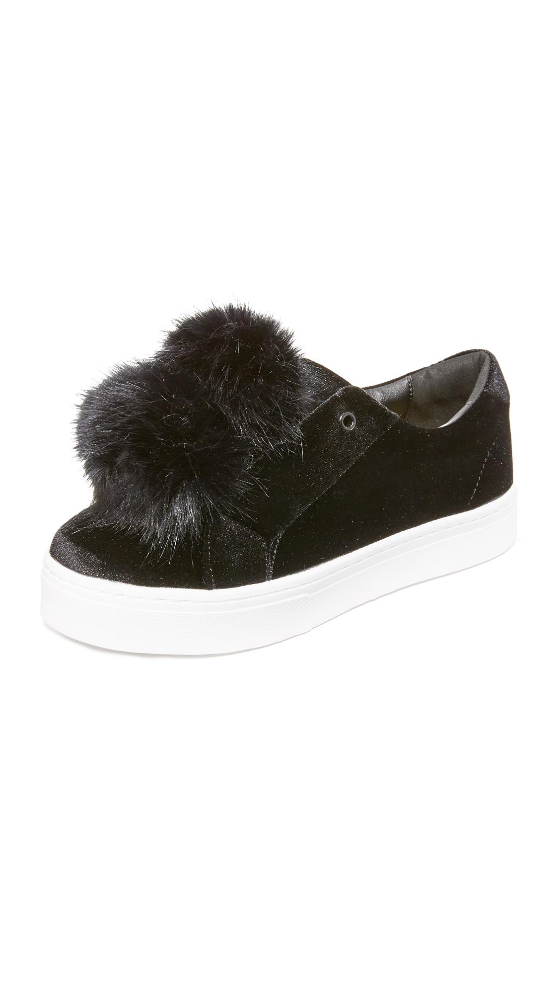 sam edelman female sam edelman leya velvet pom pom sneakers black velvet
