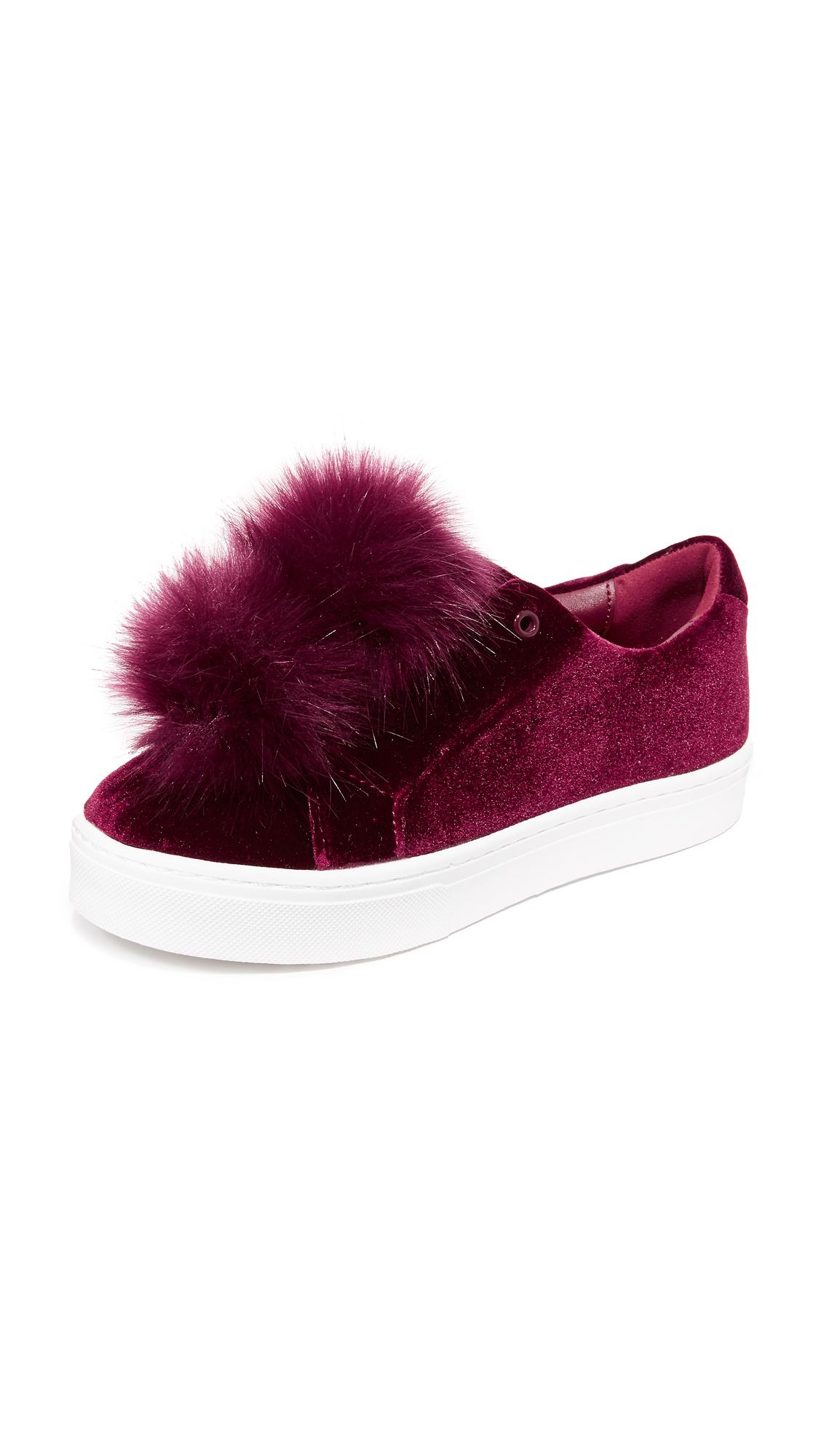 sam edelman female sam edelman leya velvet pom pom sneakers burgundy velvet