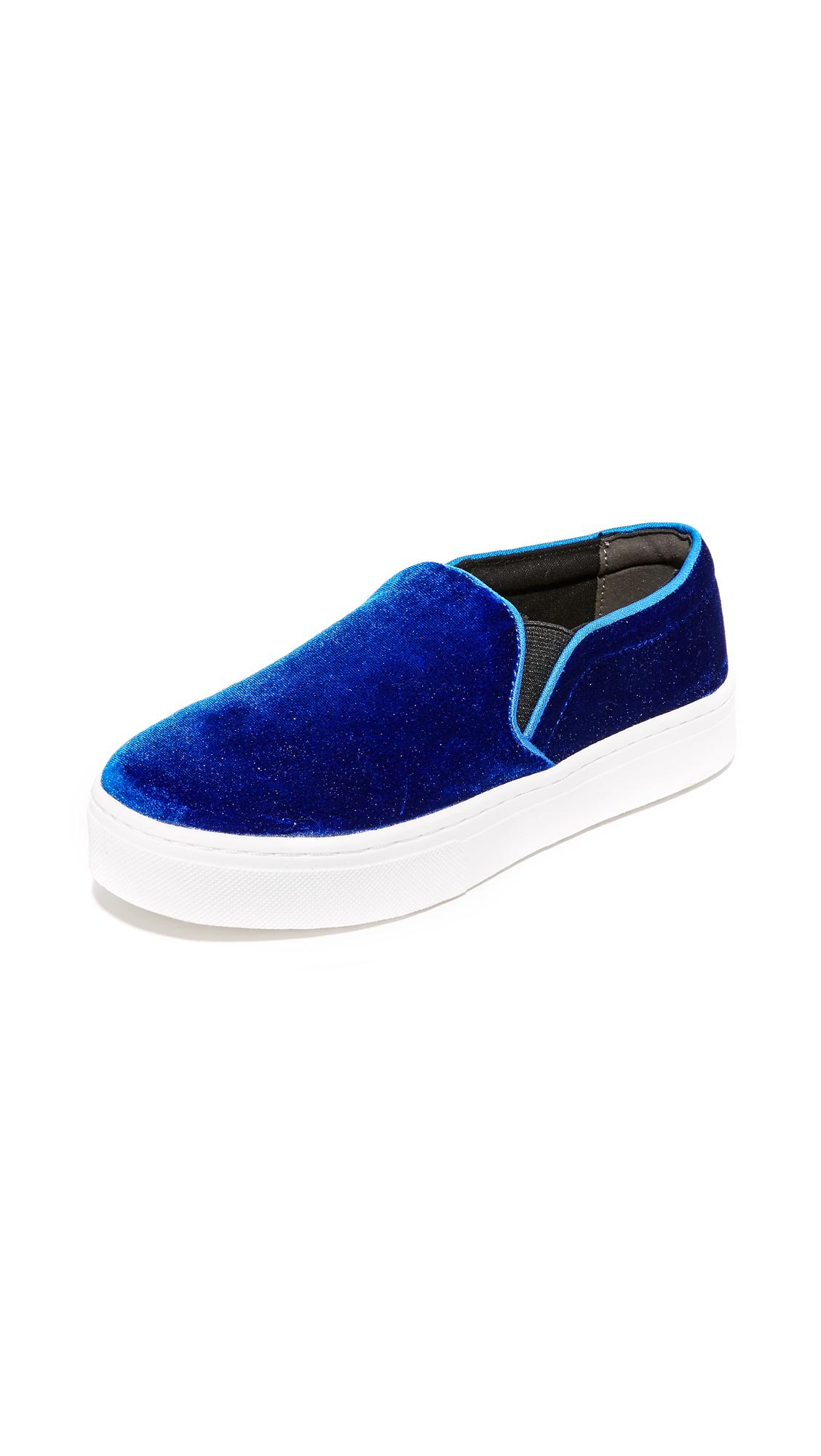sam edelman female sam edelman lacey velvet slip on sneakers blue velvet