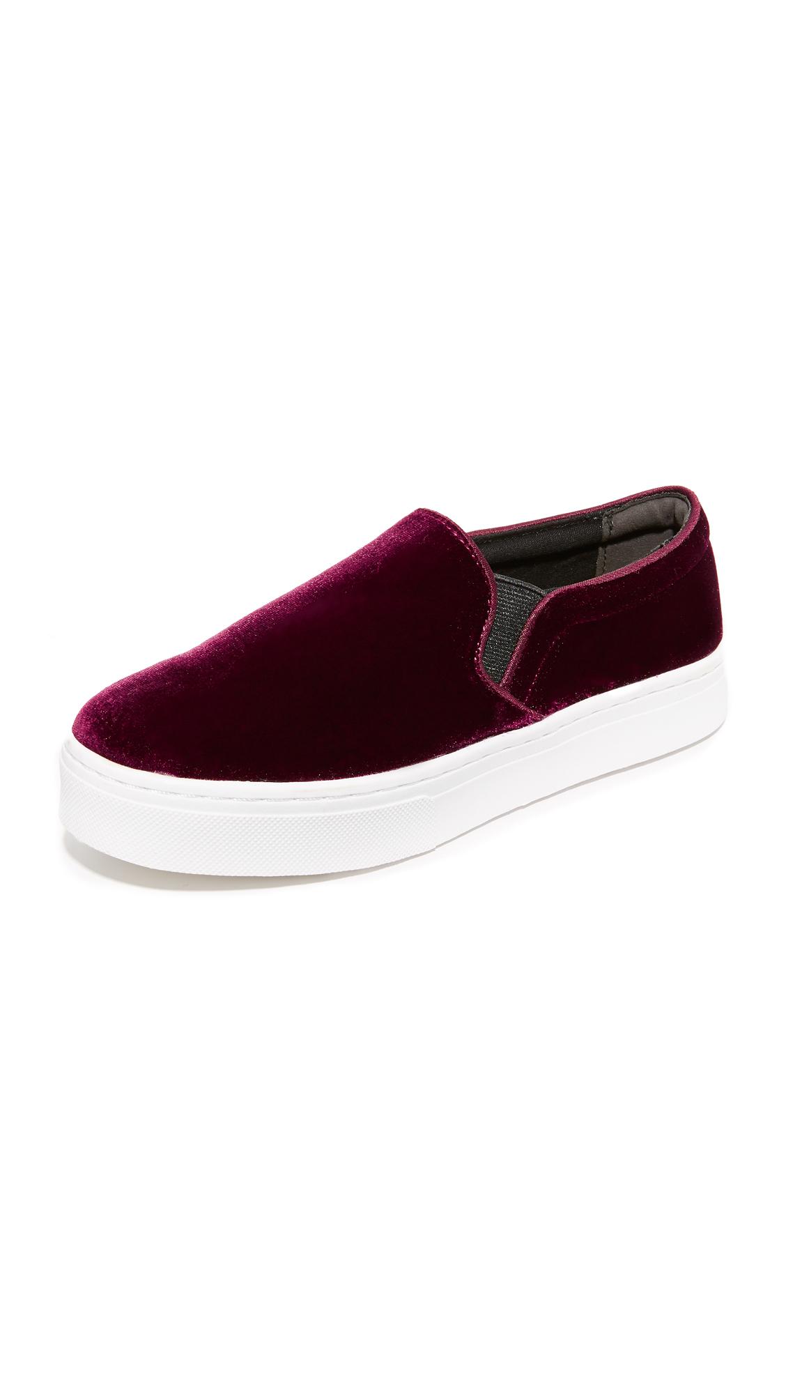 sam edelman female sam edelman lacey velvet slip on sneakers burgundy velvet