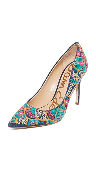 Sam Edelman Hazel Embroidered Pumps - Indigo Multi