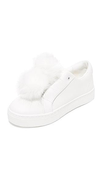 Sam Edelman Leya Pom Pom Sneakers - White/White