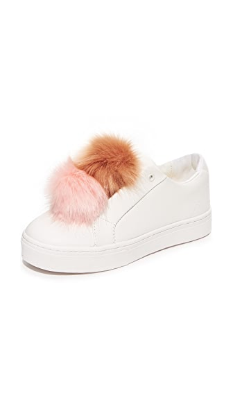 Sam Edelman Leya Pom Pom Sneakers - White/Hot Coral/Natural