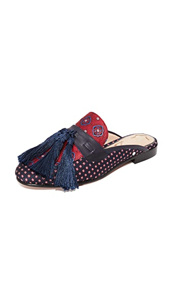 Sam Edelman Parsimon Tassel Mules - Red Multi/Blue Multi/Inky Navy