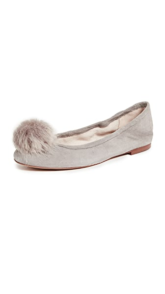 Sam Edelman Farina Pom Ballet Flats In Grey Frost