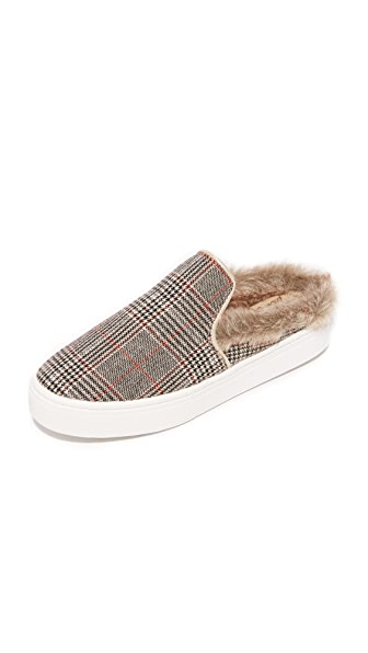 Sam Edelman Levonne Faux Fur Slip On Sneakers In Tan Multi/Putty/White