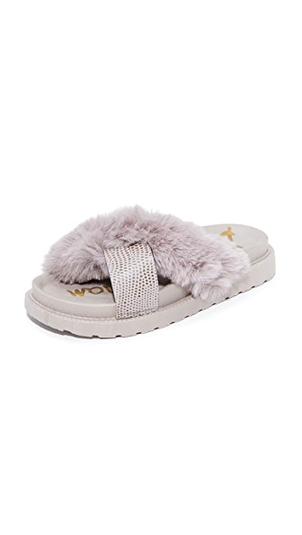 Sam Edelman Bianca Faux Fur Sandals - Grey