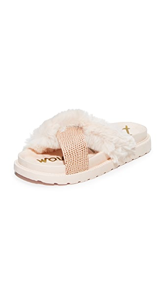 Sam Edelman Bianca Faux Fur Sandals - Rose