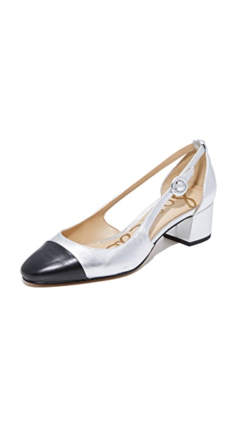 Sam Edelman Leah Cap Toe Pumps - Black/Silver
