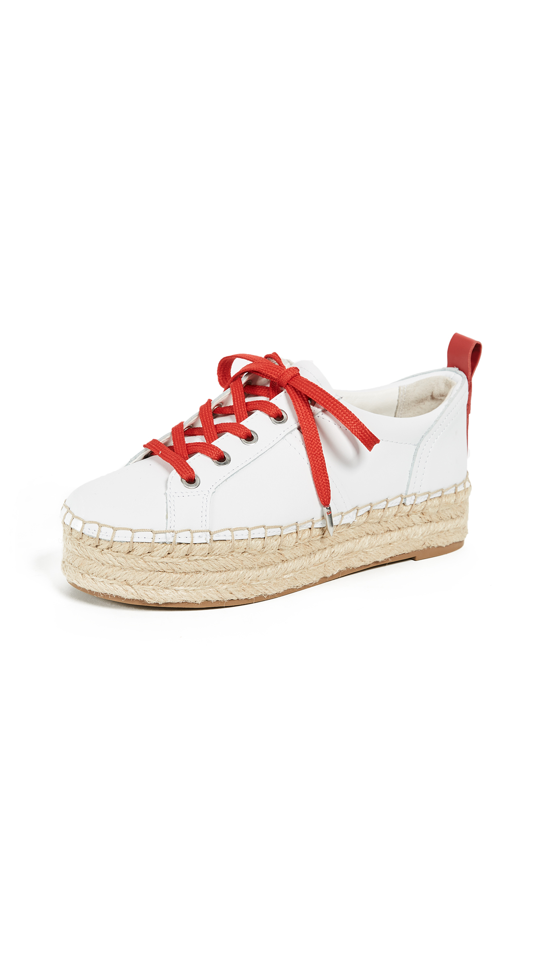 Sam Edelman Carleigh Platform Espadrille Sneakers - Super White/Candy Red