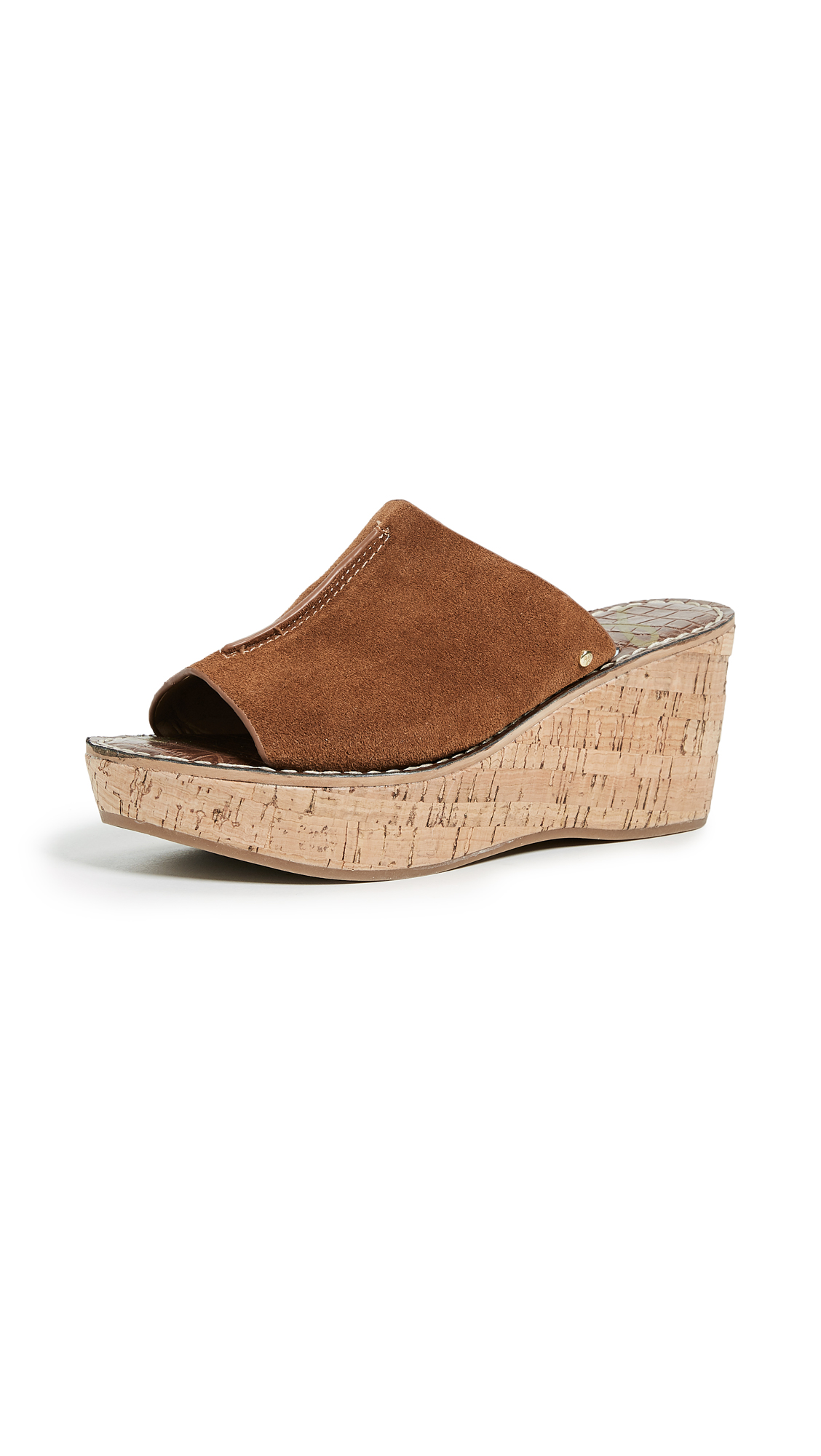 Sam Edelman Ranger Cork Wedge Mules - Luggage