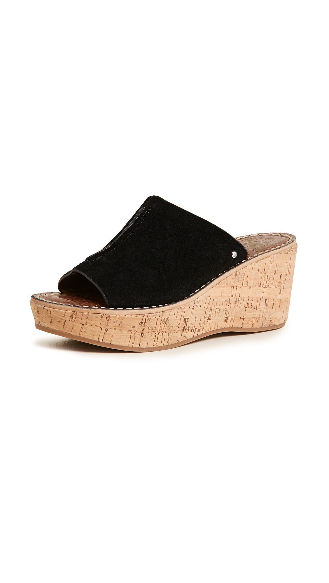Sam Edelman Ranger Cork Wedge Mules - Black