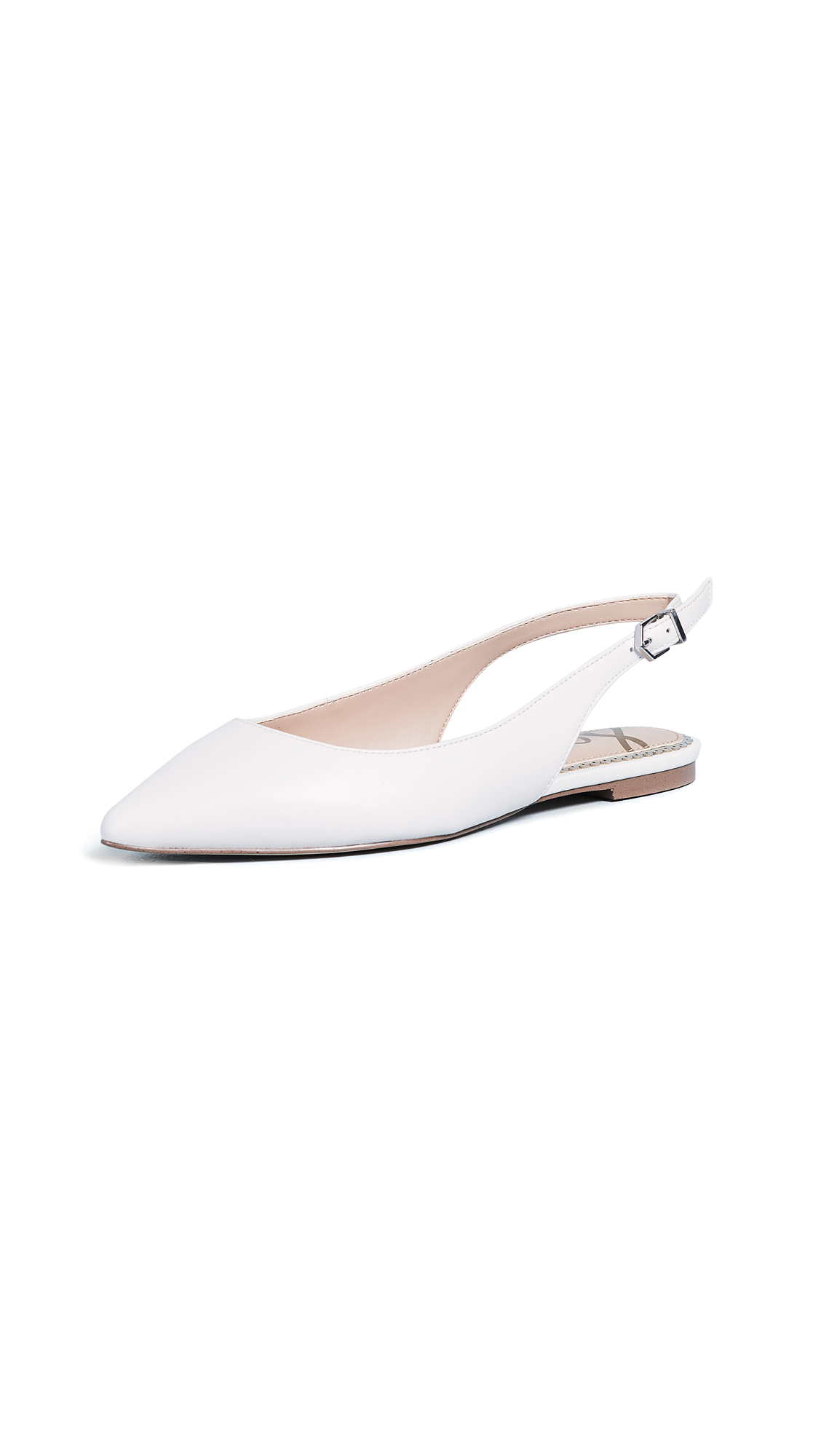 Sam Edelman Raya Slingback Flats - Bright White