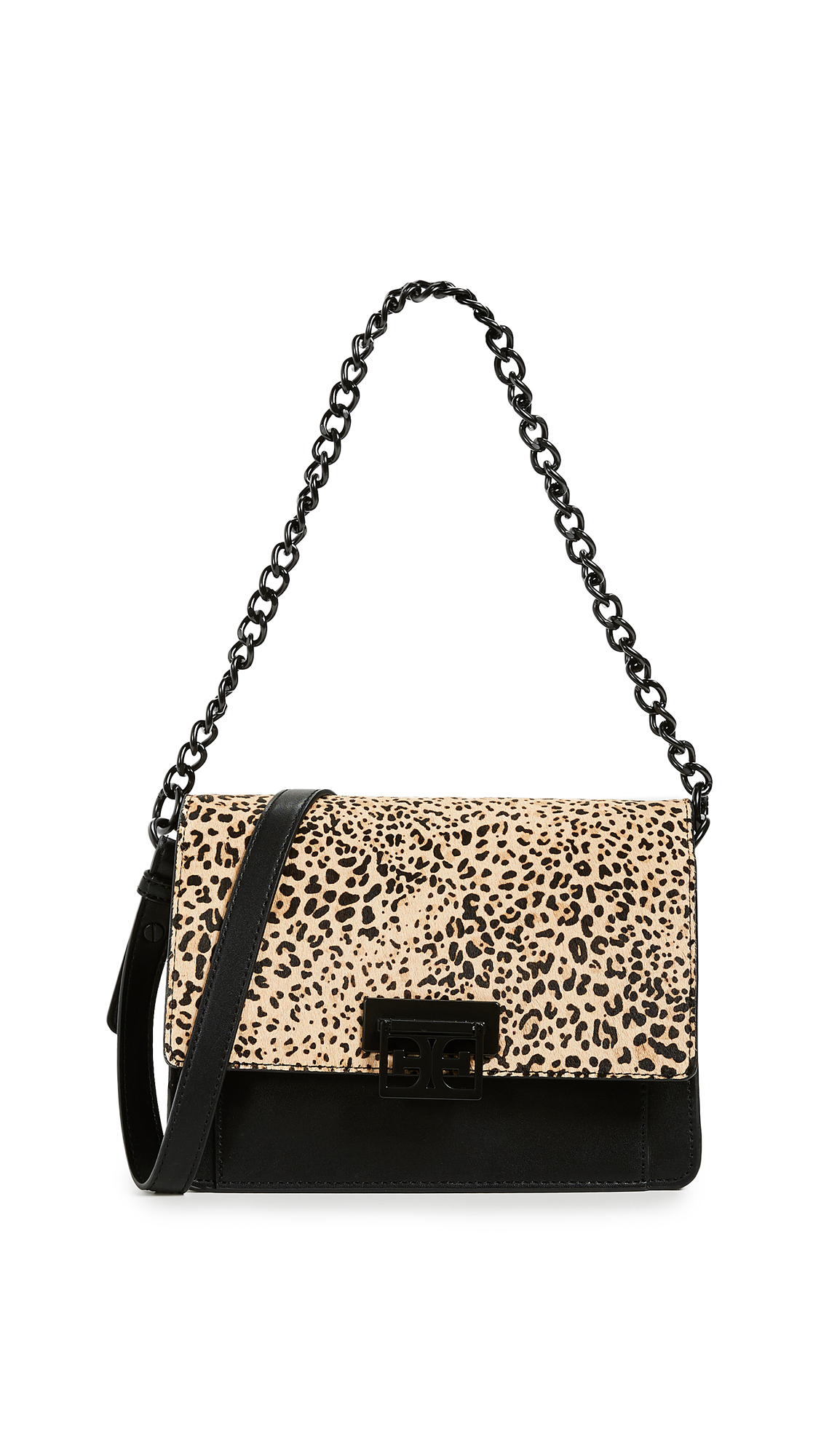 Sam Edelman Paislee Small Messenger Bag In Black/Leopard