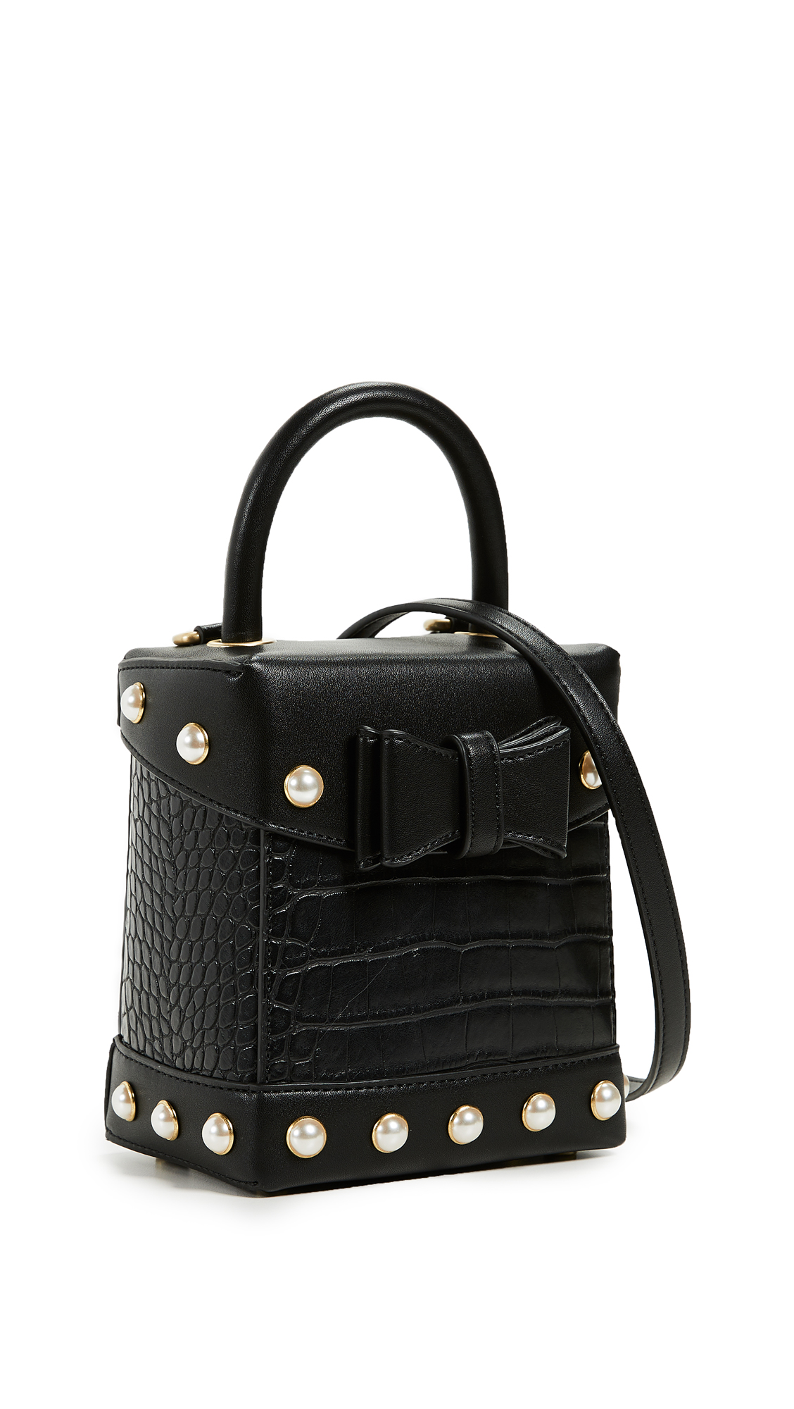 Sam Edelman Charlie Croc Box Bag In Black