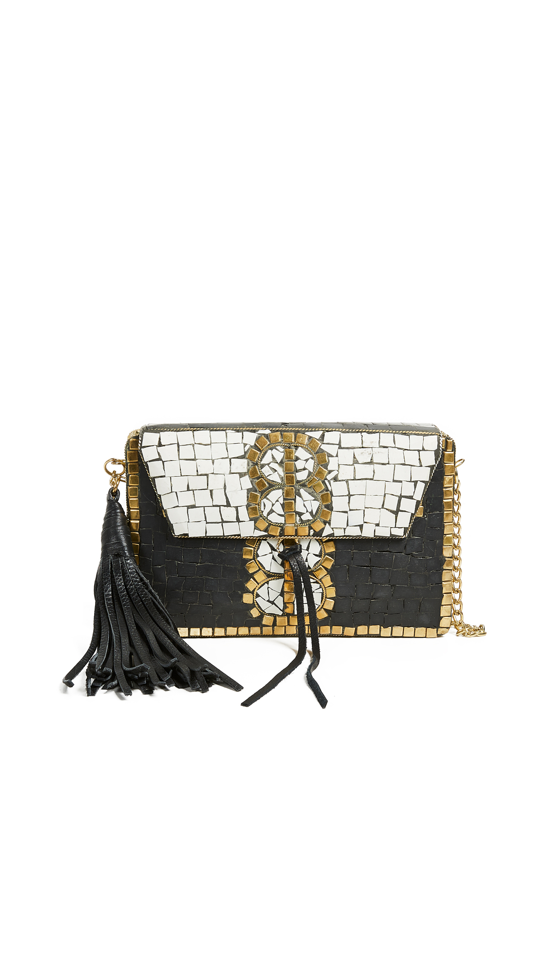 Sam Edelman Saksia Mosaic Box Clutch In Black/White Gold