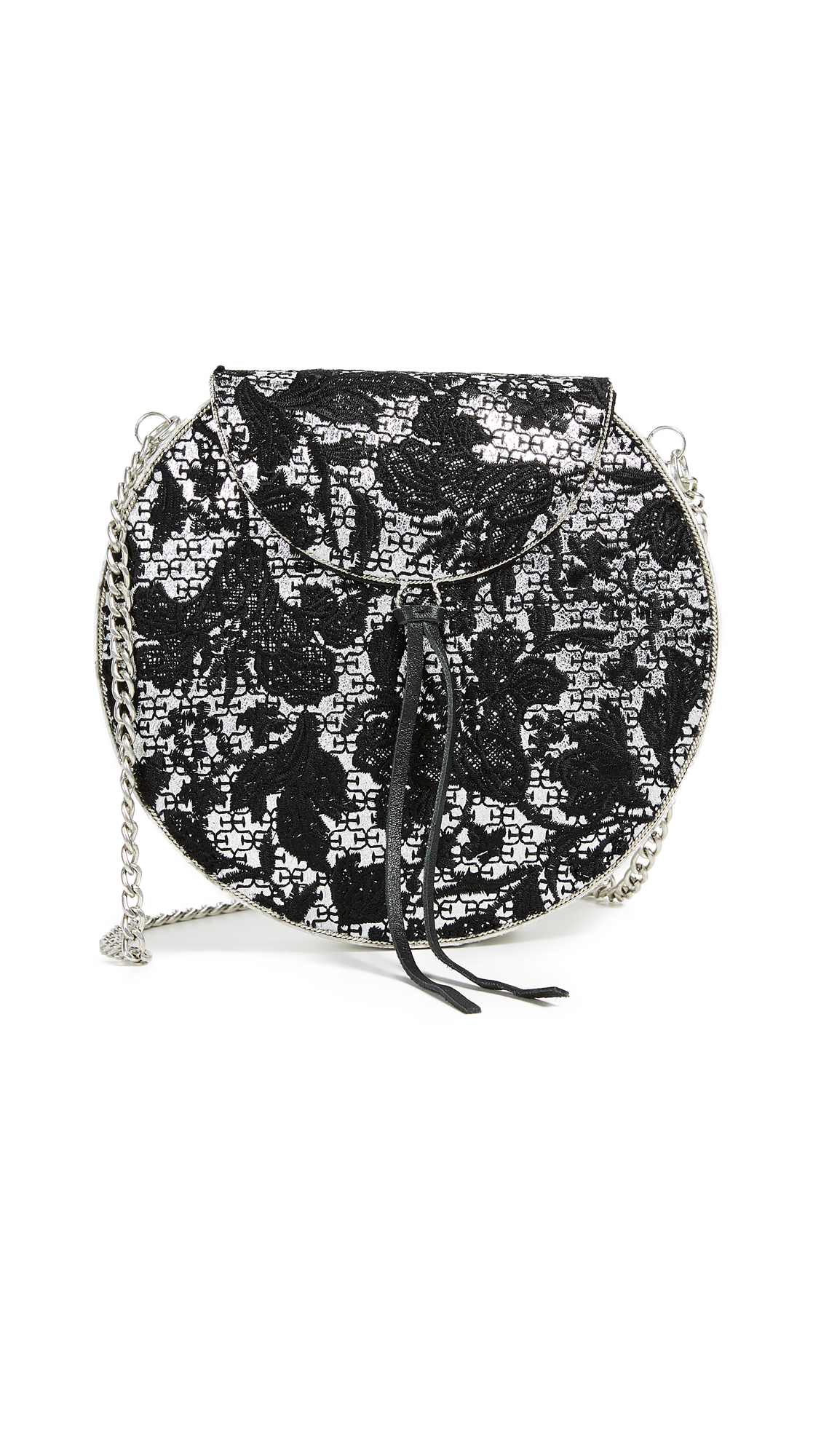 Sam Edelman Beatrice II Box Clutch In Silver Floral Embroidery