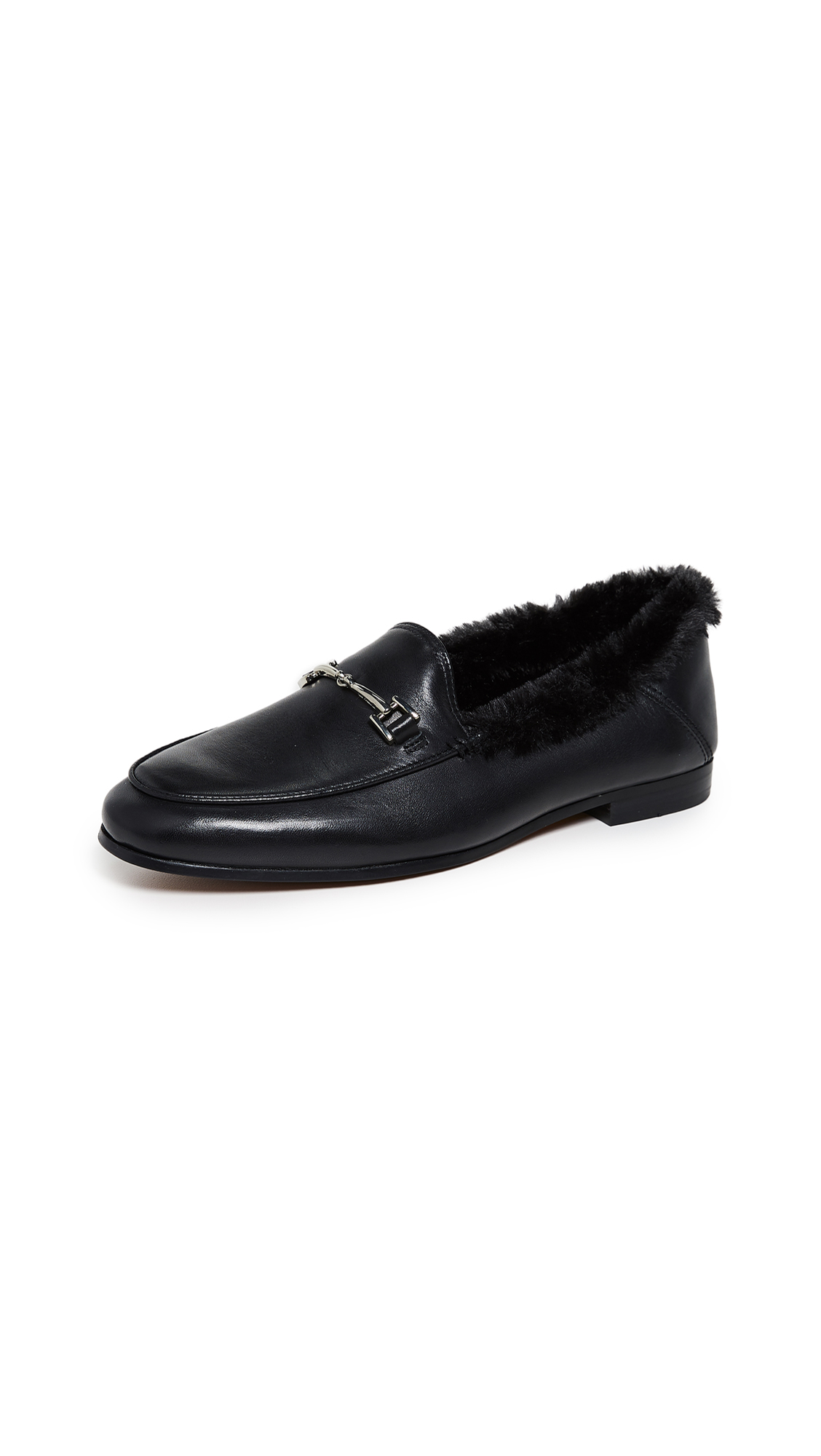 Loraine Faux-Fur Leather Loafers in Black