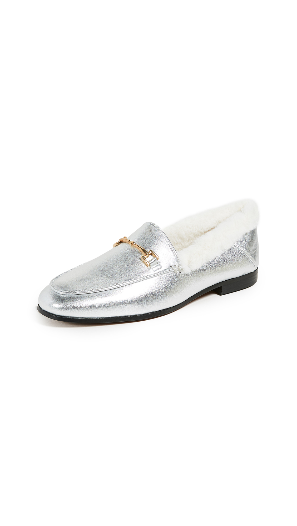 Loraine Faux-Fur Leather Loafers in Soft Silver/Modern Ivory