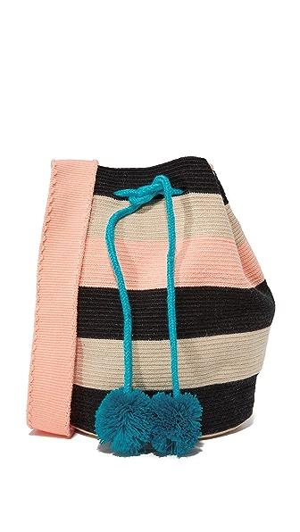 Sophie Anderson Lilla Bucket Bag - Black Stripe