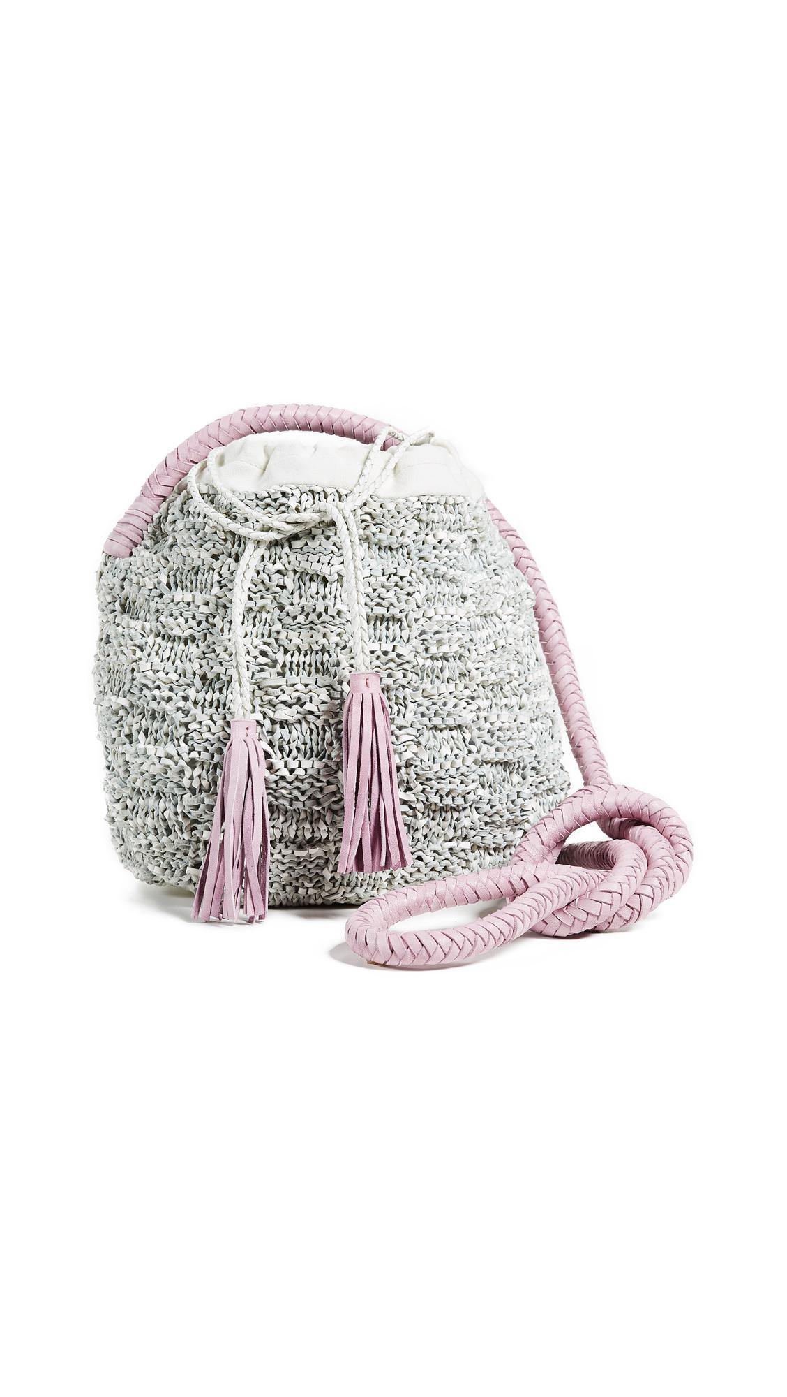 PORTIA KNIT LEATHER BUCKET BAG