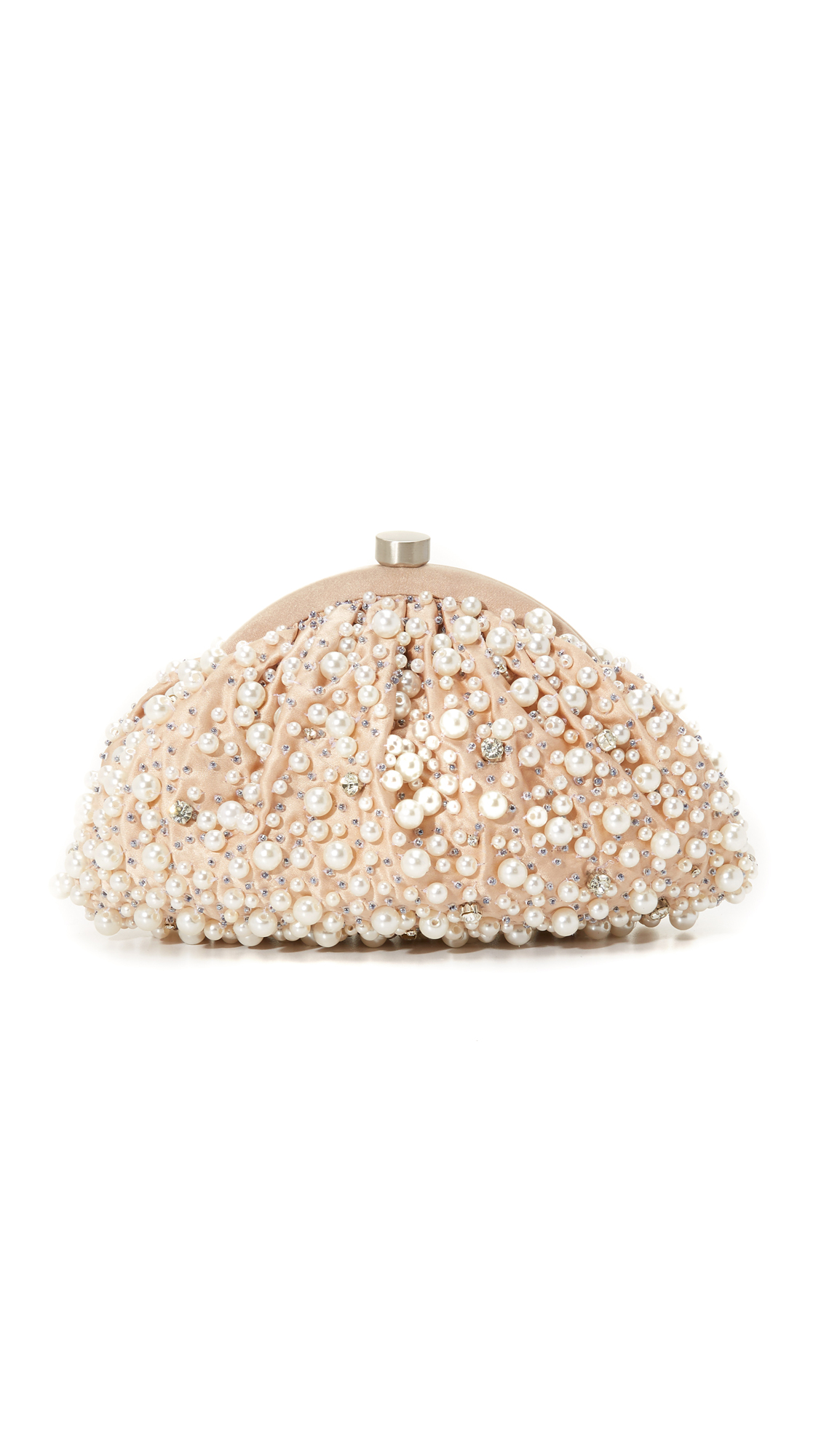 The soft shimmer of imitation pearls gives a soft Santi clutch an edge of romantic charm. Sparkling crystals and tiny beads finish the pretty exterior, and the push lock top opens to a satin interior. The